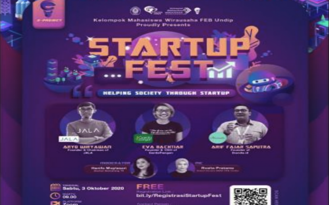 Webinar – Startup Fest with the theme Helping Society through Startup, Universitas Diponegoro, 3 Oct 2020