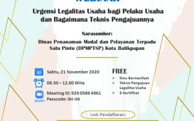 "Webinar ""The Urgency of Legality for Startup and Businesses"", ITK, 21 November 2020"