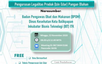 "Workshop ""Management of Product Legality (Circulation Permit) of Processed Food"", ITK, 22 November 2020"